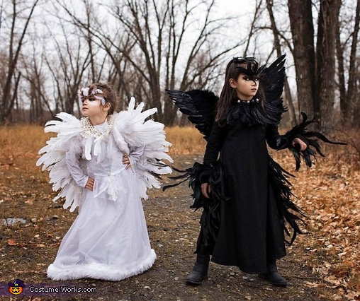 Snowy Owl and Black Crow Costume