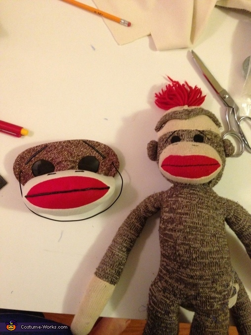 Getting the face right is key, Sock Monkey Costume