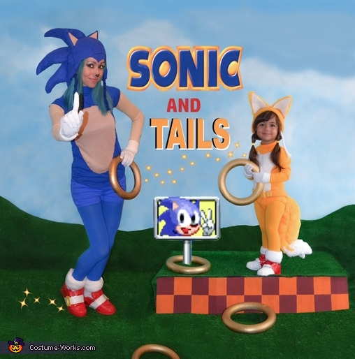 Sonic & Tails:  Mom and daughter duo, Sonic & Tails Costumes