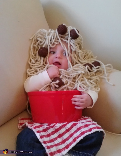 Spaghetti and Meatballs - Homemade costumes for babies