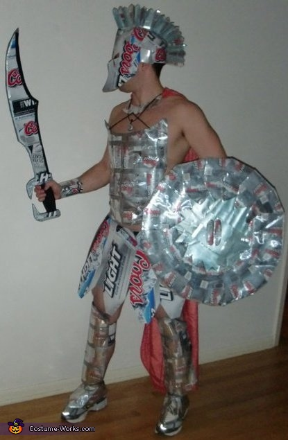 Spartan Warrior Costume & Coors Light Spartan Knight - Halloween Costume Made of Beer Cans!