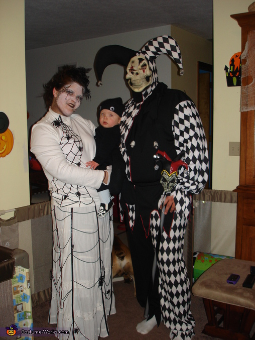 Baby Spider Alex, Mommy is the web and daddy is in the pic as a jester, Spider and Web Costume