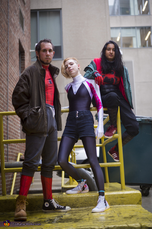 From left: Brandon, Liz, and Mithra!, Spidey Dream Team Costume