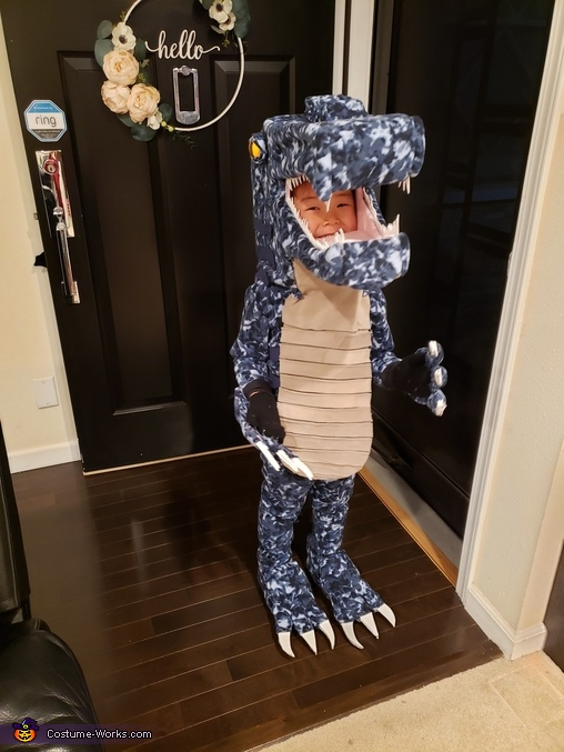 Front view, Miles-a-saurus Costume
