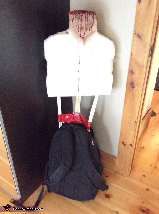 How it's made (backpack, yardstick, foam, duct tape), Splitting Headache Costume