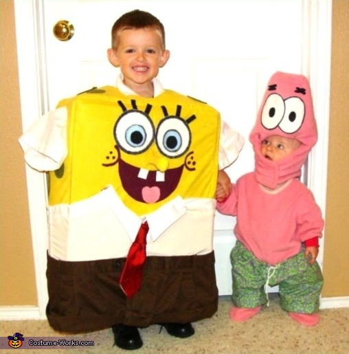 Here is Brian/SpongeBob,with his brother dressed as Patrick Star, SpongeBob SquarePants Costume