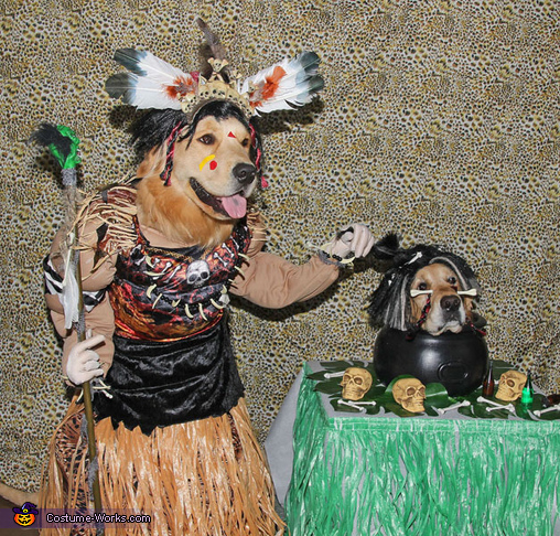 Spooky Witch Doctor and Shrunken Head Illusion Costumes