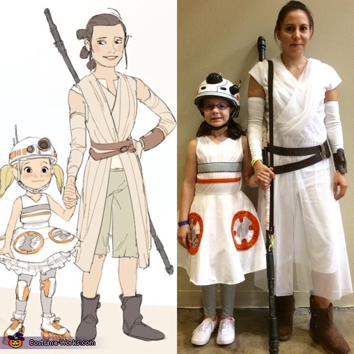 Rey and BB-8 Inspiration vs. Reality, Star Wars Family Costume