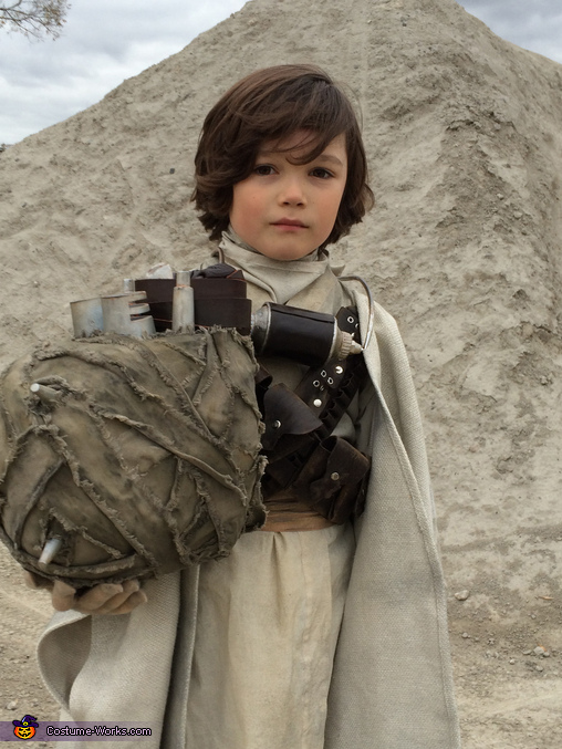 Tusken boy unmasked, Tusken Raider Costume