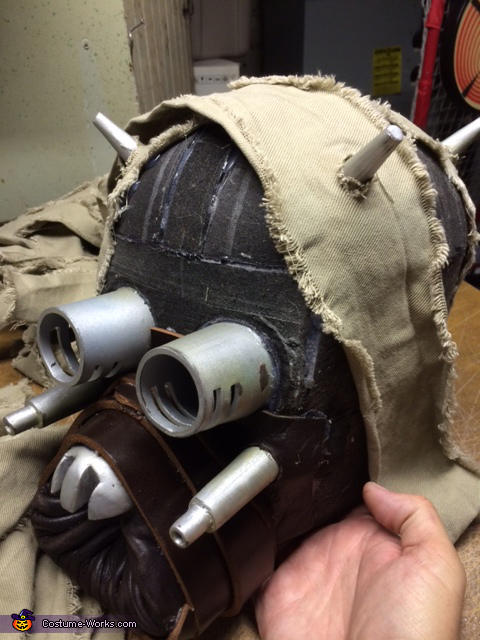 Constructed head with silver components in place, Tusken Raider Costume