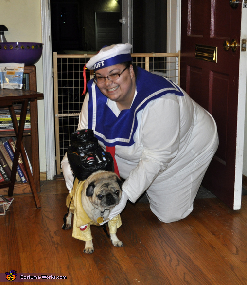 With my ghost bustin' dog Winston, Stay Puft Marshmallow Woman Costume