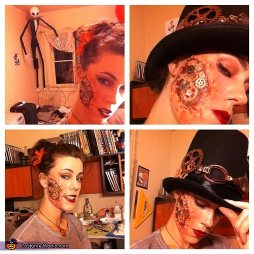 test makeup, Steam-powered Girl and her Creator Costume