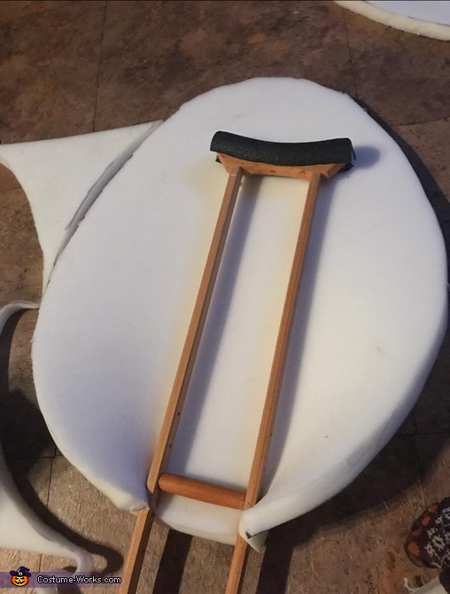 the crutches with polyfoam being added, Steampunk Circus Costume