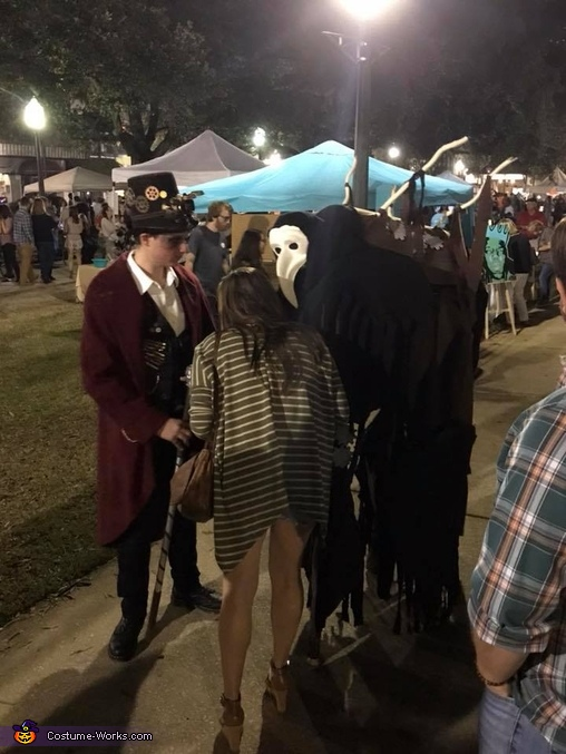 answering questions and taking pictures, Steampunk Circus Costume