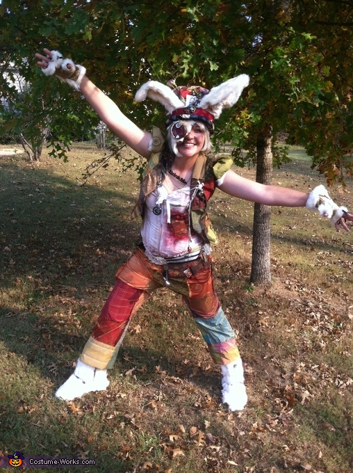 White Rabbit front, Steampunk Mad Hatter & White Rabbit Costume
