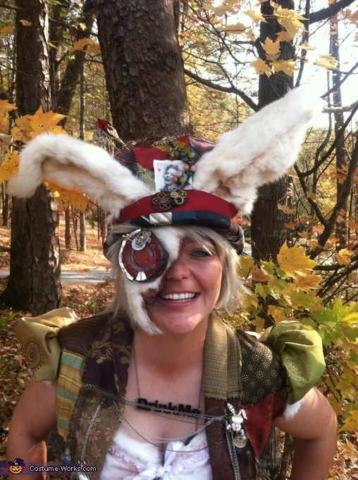White Rabbit Hat & Face, Steampunk Mad Hatter & White Rabbit Costume