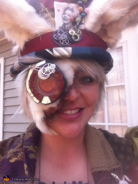 W.Rabbit Rose Monacle, Steampunk Mad Hatter & White Rabbit Costume
