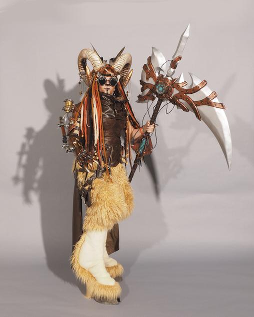 Ashlee Forde wearing handmade Steampunk Satyr Costume, Steampunk Satyr Costume