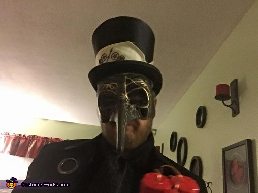 Up close picture of the Black Spy, Steampunk Spy Vs. Spy Costume