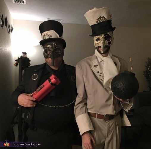 Another picture of the pair, Steampunk Spy Vs. Spy Costume
