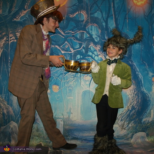 Hatter and Hare cheers, Steampunk Wonderland Family Costume