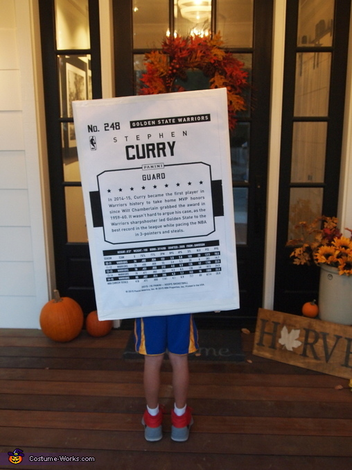 back of card, Stephen Curry Basketball Card Costume