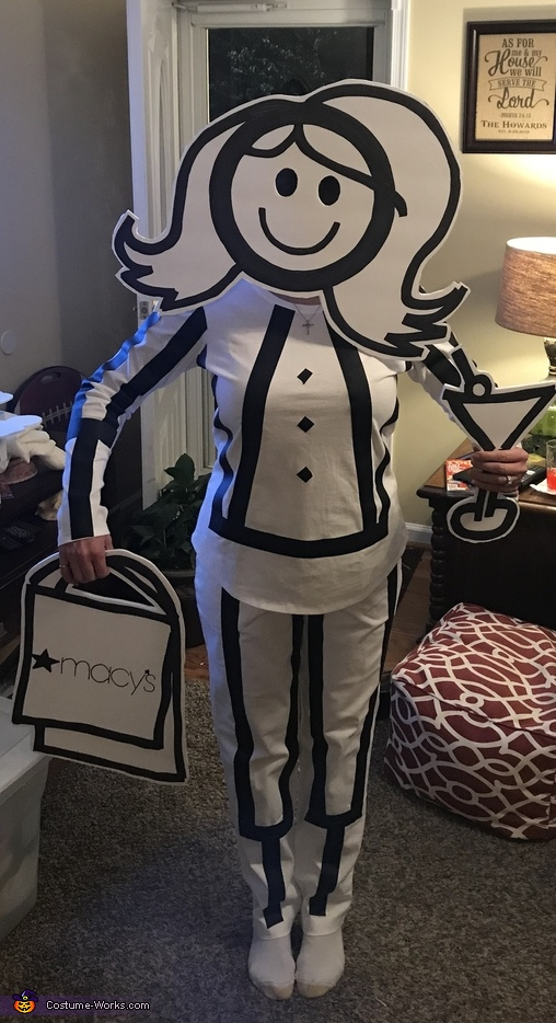 Shopping and drinking momma, Stick Figure Family Costume