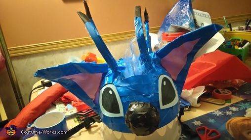 After adding eyes, nose, teeth and cute hair, Stitch Costume