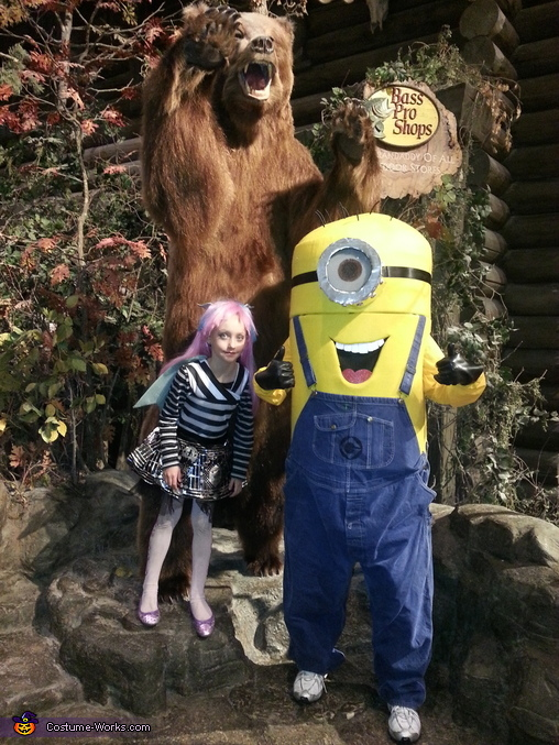 At Bass Pro with my little one, Stuart The Minion Costume
