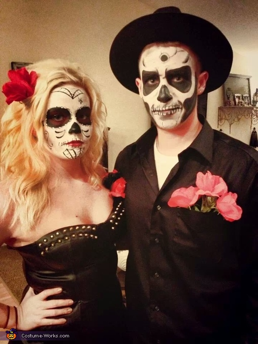 Sugar Skull and Skeleton Couples Costume
