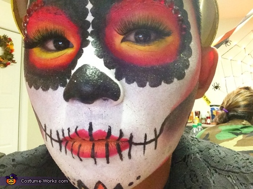 A closer picture to show the ombré effect on my eyes and lips. You can definitely see the lashes in this picture. , Sugar Skull Queen Costume