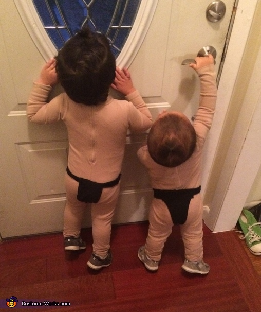 Waiting for trick or treaters, Sumo Brothers Costume
