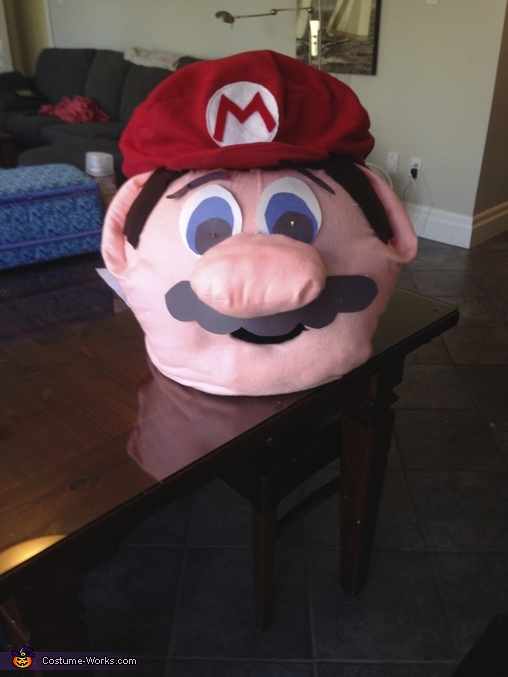 The nose was tricky to attach due to it's protrusion from the face!  Used stitching, spray glue and hot glue to fasten tightly!  , Super Mario Costume