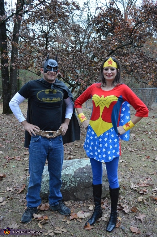 Batman dad and Wonder Woman mom, Super Heroes Costume