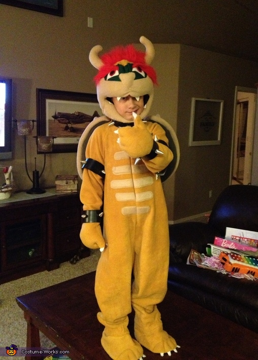 Front view of Chandler as Bowser, Super Mario Bowser Costume
