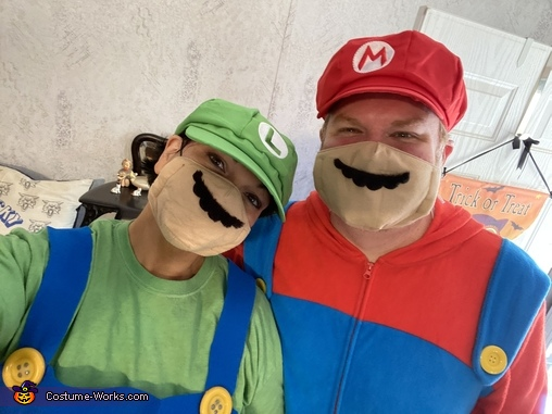 Mario and Luigi...wearing our masks!, Super Mario Brothers Costume