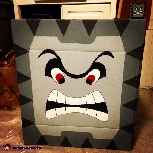 The finished product, Super Mario Thwomp Costume