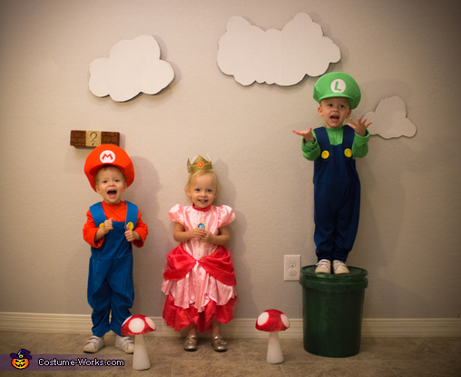 Mario, Princess Peach and Luigi, Super Mario Triplets Costume