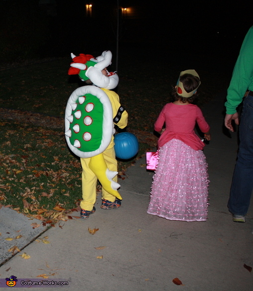 back view of the kids, Super Mario World Bowser Costume
