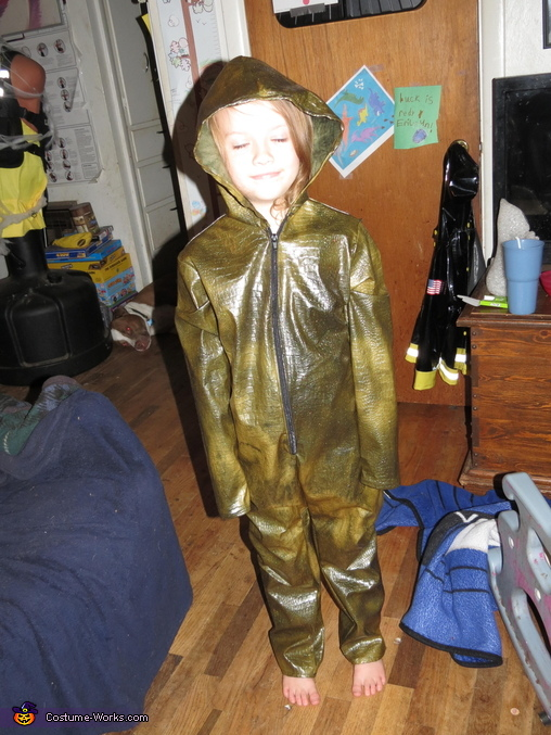 The dino suit. She really wanted a hood a hood on it, but it didn't need one., T-Rex and Ellie from Jurassic Park Costume