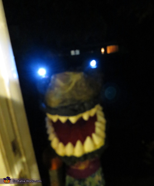 The flashlights in action. This is how people were greeted when they opened the door., T-Rex and Ellie from Jurassic Park Costume