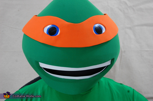 Head Close Up, Teenage Mutant Ninja Turtle Michelangelo Costume