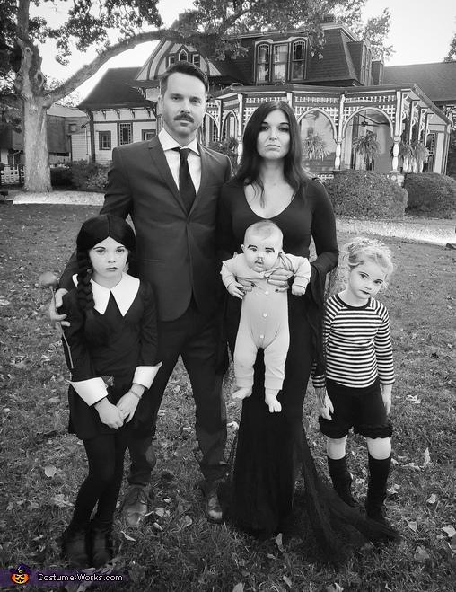 B&W photo, The Addams Family Costume