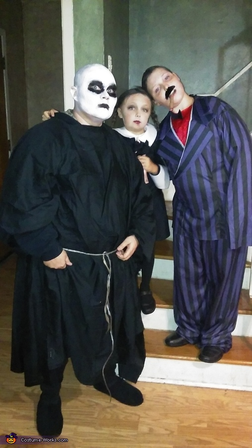 Uncle Fester, Gomez, and Wednesday, The Addams Family Costume