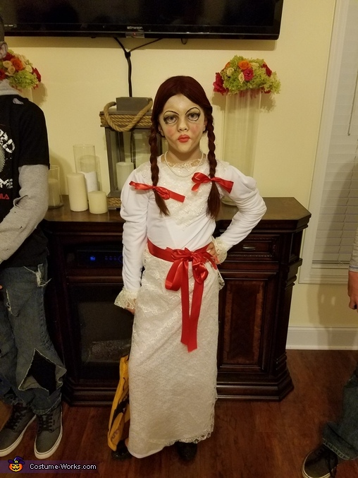 Full length view of Annabelle, The Annabelle Doll Costume