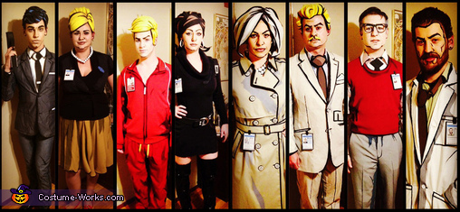 All 8 characters from the Archer Cast, The Archer Cast Group Costume