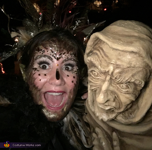 Close up with statue, The Bird Woman Costume
