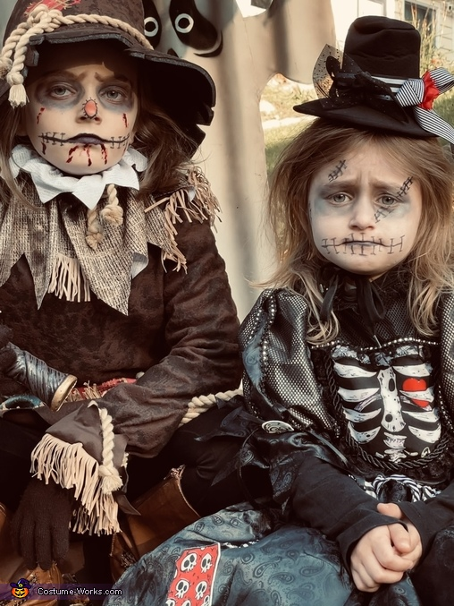 The Bone Girl and Creepy Scarecrow Costume