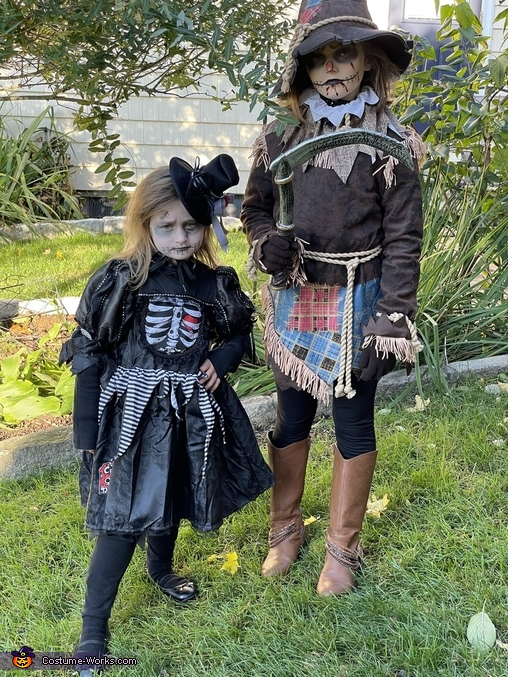 Scary duo's sisters, The Bone Girl and Creepy Scarecrow Costume
