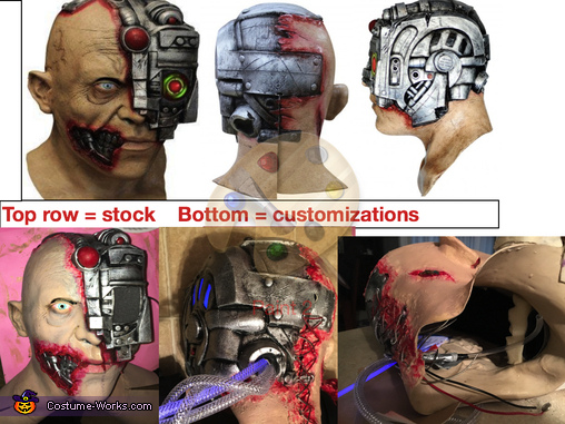 Mask b4/after mods-LED panel, extra flesh, repaint, laced shut, drinking system, The Borginator Costume